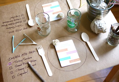 Butcher Paper A Circle For Where Each Plate Was To Be Placed Eat List Next Setting And Crayons So Pint Size Diners Can Mark Off Items
